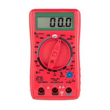 Steren LCD Digital Multimeter with Data Retention Red