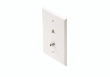 Steren Mid-Sized 4C Tel + TV Wall Plate White