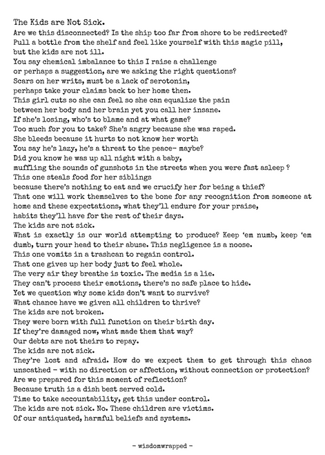 Poem Download: The Kids are Not Sick
