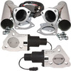 """QTP QTEC50CP 2.5"""" Electric Exhaust Cutout 3-Bolt Flange With Stainless Y-Pipes"""
