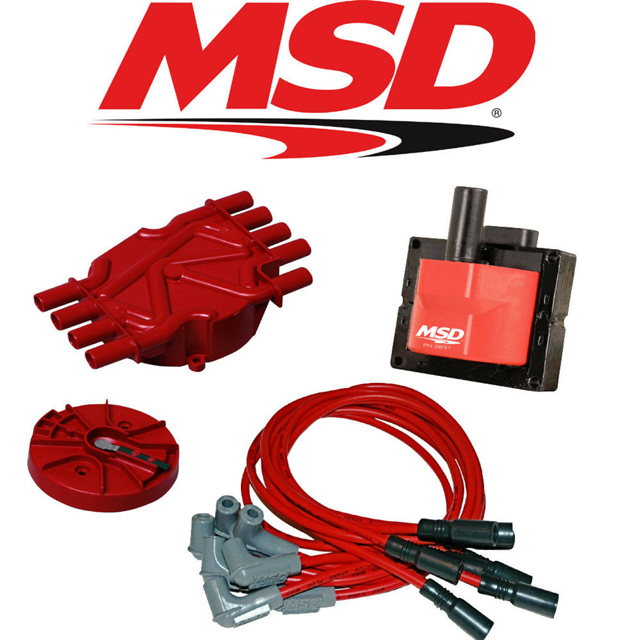 MSD Ignition 80173 Distributor Cap and Rotor Kit GM Vortec V8 Black