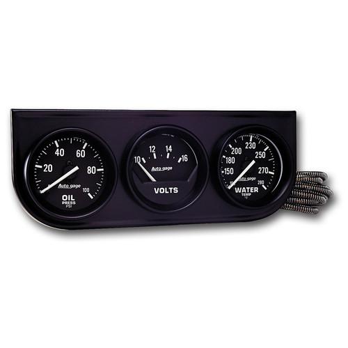 AutoMeter 2397 Autogage Oil/Volt/Water Black Console