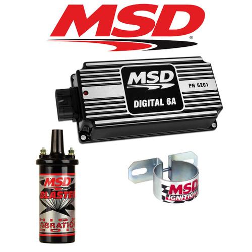 MSD 99503 BLACK Ignition Kit Digital 6A Ignition Box/Blaster 2 Coil/Coil Bracket