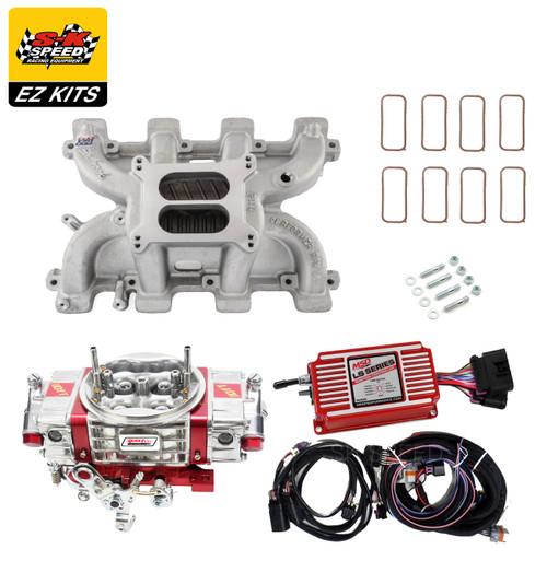 LS1 Carb Intake Kit Edelbrock RPM Intake/MSD 6014 Ignition/Quickfuel Q-650 Carb
