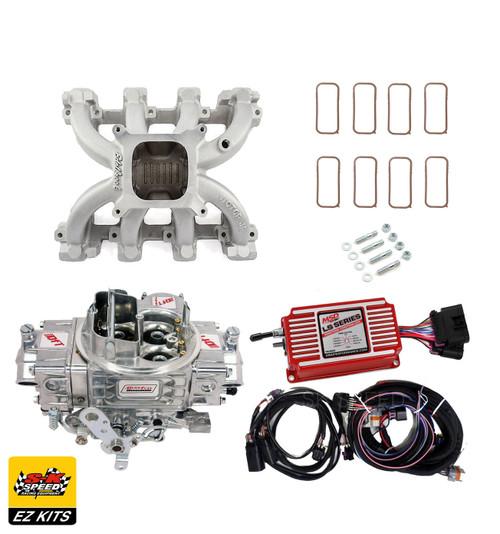 LS1 Carb Intake Kit - Edelbrock Victor Jr/MSD 6014 Ignition/Quickfuel 600 Carb