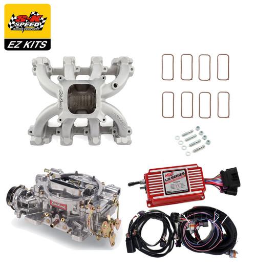 LS1 Carb Intake Kit - Edelbrock Victor Jr/MSD 6014 Ignition/Edelbrock 600 Carb