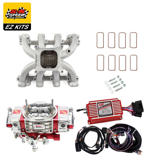LS1 Carb Intake Kit Edelbrock Victor Jr Intake/MSD 6014 Ignition/Quickfuel Q-750