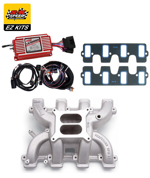 LS3 Rectangle Port Carb Intake Kit - Edelbrock Performer RPM Intake/MSD 6014 Box