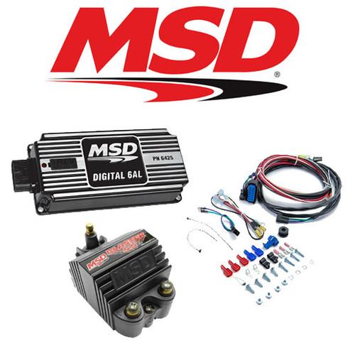 MSD 99563 Ignition Kit - 64253 Digital 6AL Ignition Box & 82073 Blaster SS Coil