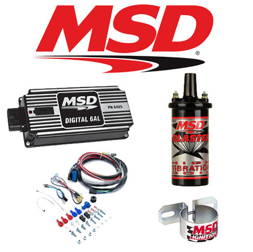 MSD 99513 Black Ignition Kit - 6425 Digital 6AL Box/Blaster 2 Coil/Coil Bracket