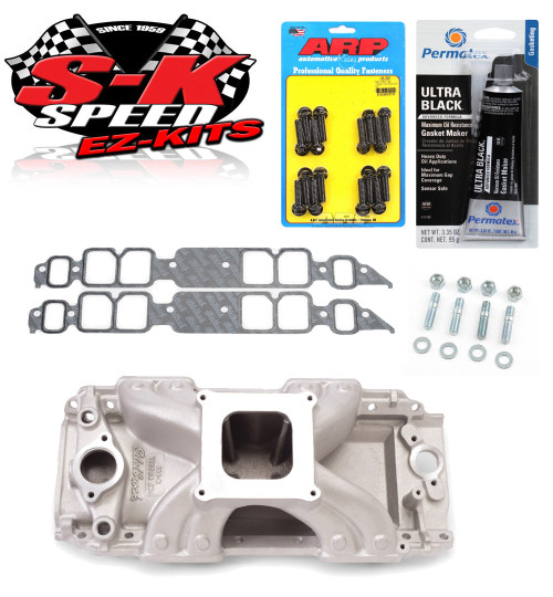 Edelbrock 2902 Victor Jr Intake Manifold w/Bolts/Gaskets/RTV BBC Rectangle Port