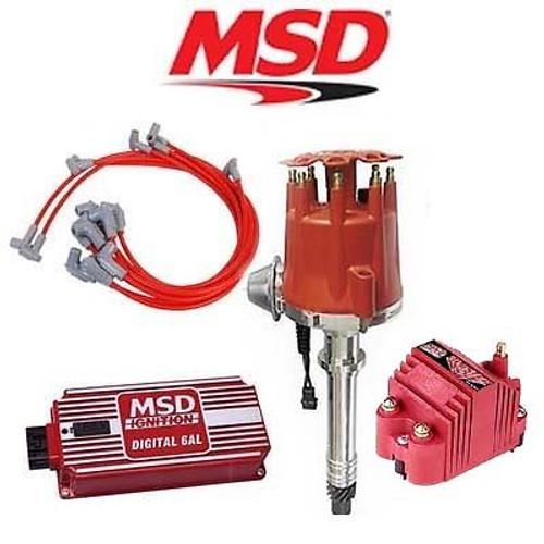 MSD 9110 Ignition Kit - Digital 6AL/Distributor/Wires/SS Coil SBC Vacuum Advance