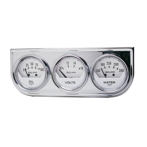 AutoMeter 2325 Autogage White Oil/Volt/Water Chrome Steel Console