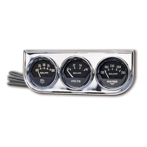 AutoMeter 2349 Autogage Black Oil/Water/Volt Chrome Console