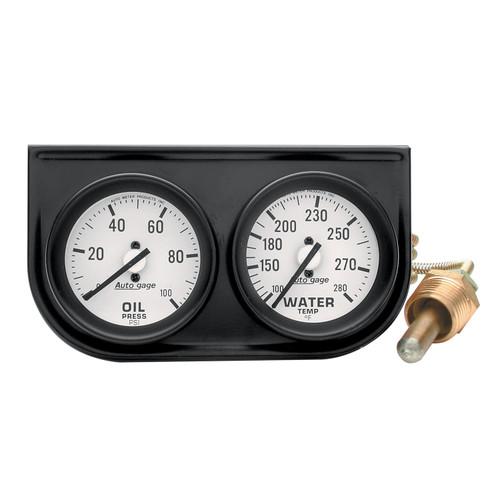 AutoMeter 2326 Autogage Mechanical Oil/Water Black Console