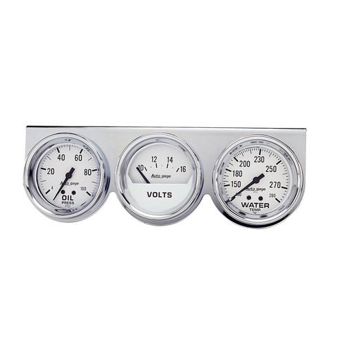 AutoMeter 2329 Autogage Mechanical White Oil/Volt/Water Chrome Console