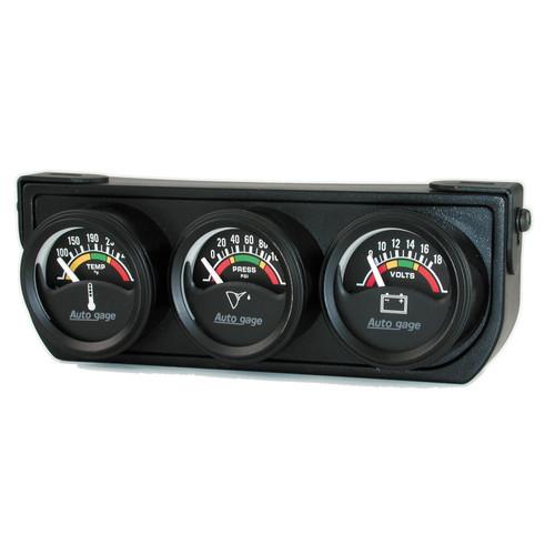 AutoMeter 2391 Autogage Electric Mini Oil/Volt/Water Gauge Black Console