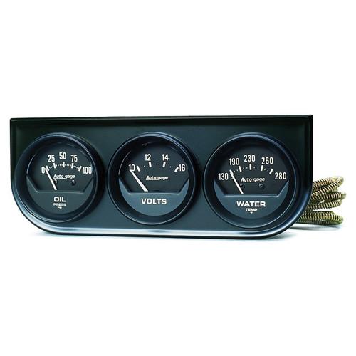 AutoMeter 2348 Autogage Black Oil/Volt/Water Black Console