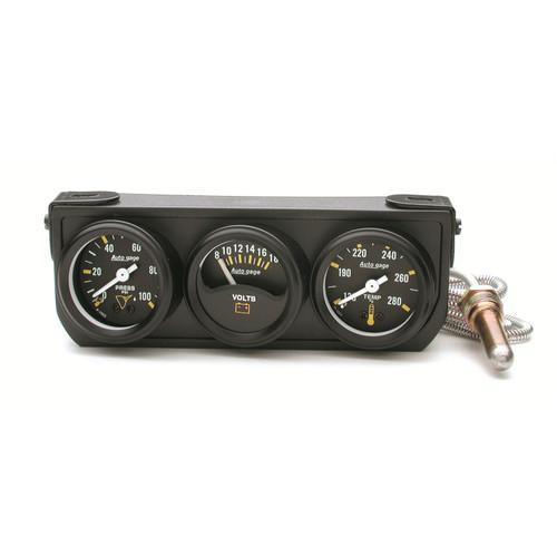 AutoMeter 2396 Autogage Mechanical Mini Oil/Volt/Water Black Console