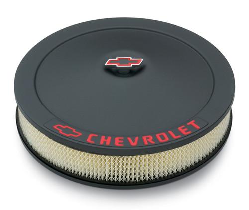 "Proform 141-752 Air Cleaner - 14"" x 3"" - Black Wrinkle  w/ Chevy Logo 1.5"" Drop"