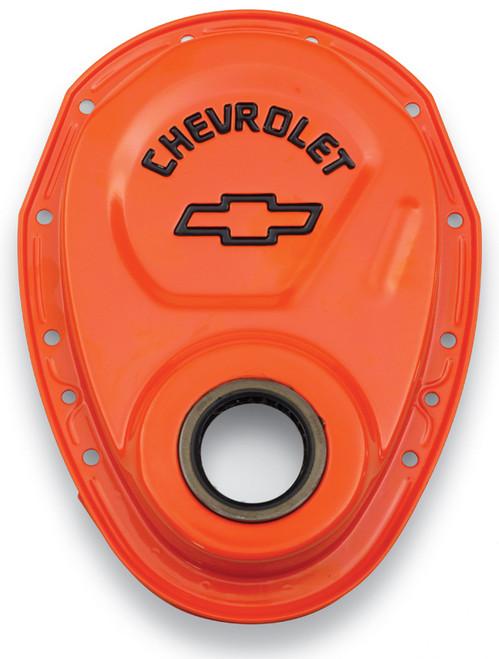 Proform 141-783 Chevy Small Block Timing Cover - Steel - Orange/Black Chevy Logo