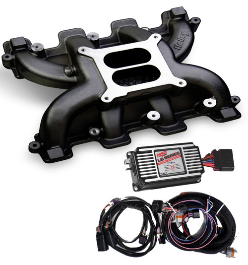 LS Cathedral Port Carb Conversion Holley 300-130BK Black Intake/MSD 60143 Box