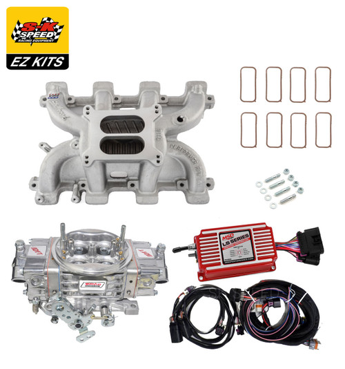 LS1 Carb Intake Kit Edelbrock RPM Intake/MSD 6014 Ignition/Quickfuel SQ-750 Carb