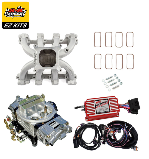 LS1 Carb Intake Kit - Edelbrock Victor Jr Intake/MSD 6014 Ignition/Proform 850
