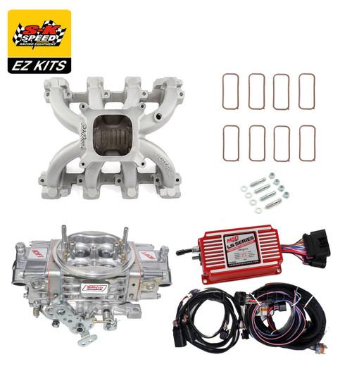 LS1 Carb Intake Kit Edelbrock VictorJr Intake/MSD 6014 Ignition/Quickfuel SQ-750