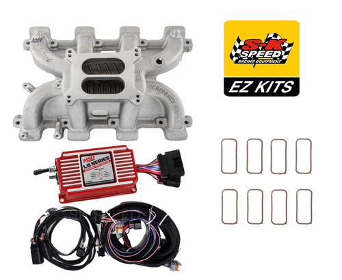 LS Cathedral Carb Conversion Kit - Edelbrock Performer Intake/MSD 6014 Ignition