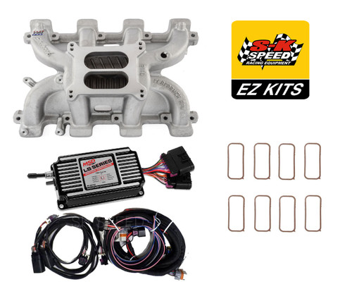LS Cathedral Carb Conversion Kit - Edelbrock Performer Intake/MSD 60143 Ignition
