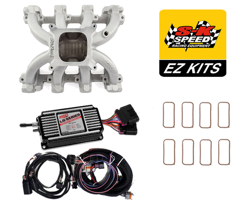 LS Cathedral Carb Conversion Kit - Edelbrock Victor Jr Intake/MSD 60143 Ignition