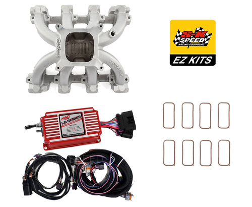 LS Cathedral Carb Conversion Kit - Edelbrock Victor Jr Intake/MSD 6014 Ignition