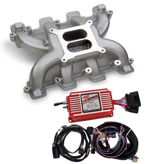 LS Cathedral Port Carb Conversion Holley 300-130 Dual Plane Intake/MSD 6014 Box