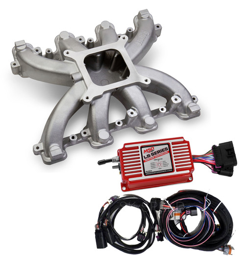 LS3 Rectangle Port Carb Conversion Holley 300-131 Single Plane Intake/MSD 6014
