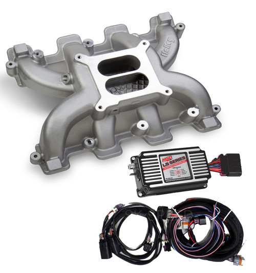LS Cathedral Port Carb Conversion Holley 300-130 Dual Plane Intake/MSD 60143 Box