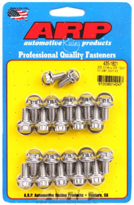 ARP 435-1801 Stainless Oil Pan Bolt Kit 1966-00 Big Block Chevy 12 Point Head