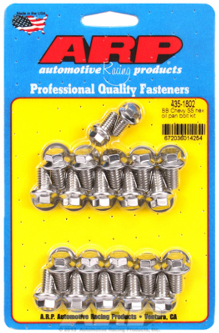 ARP 435-1802 Stainless Oil Pan Bolt Kit - 1966-2000 Big Block Chevy - Hex Head