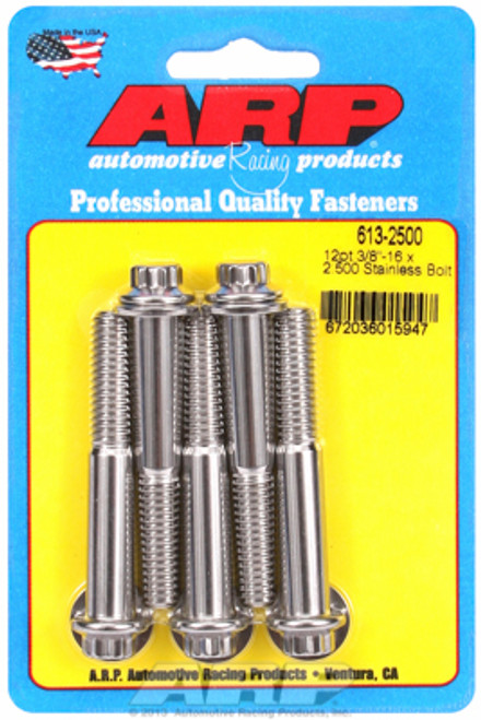 "ARP 613-2500 Stainless Steel Bolts - 12 Point Head - 3/8""-16 - 2.500"" UHL 5 Pack"
