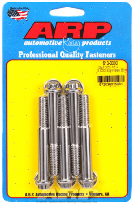 "ARP 613-3000 Stainless Steel Bolts - 12 Point Head - 3/8""-16 - 3.000"" UHL 5 Pack"