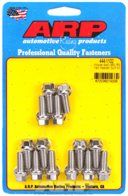 """ARP 444-1102 Header Bolts 5/16"""" Hex Head Stainless 0.750""""L Chrysler Small Block"""