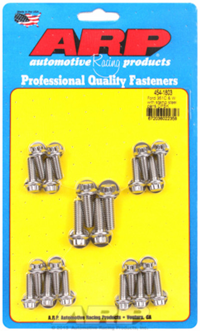 ARP 454-1803 Stainless Steel Oil Pan Bolt Kit Small Block Ford 302/351W 12 Point
