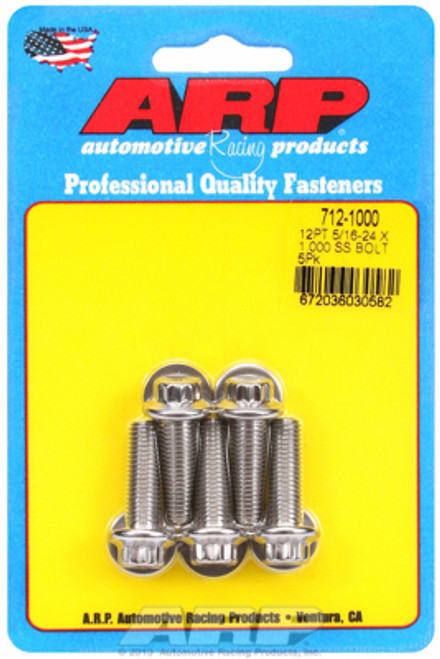 "ARP 712-1000 Stainless Steel Bolts 12 Point Head - 5/16""-24 - 1.000"" UHL 5 Pack"