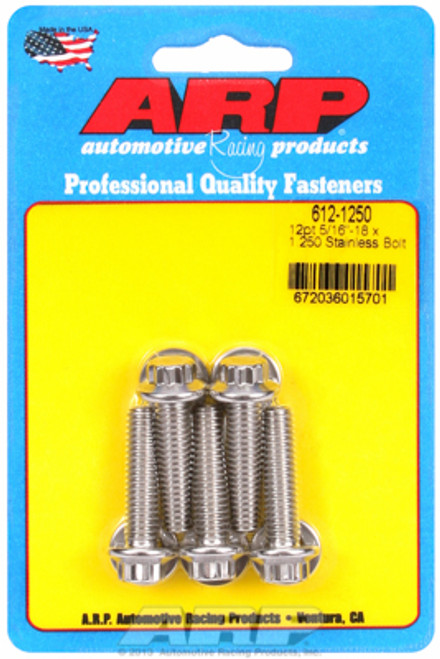 "ARP 712-1250 Stainless Steel Bolts 12 Point Head - 5/16""-24 - 1.250"" UHL 5 Pack"