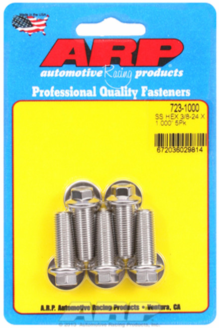 """ARP 723-1000 Stainless Steel Bolts - Hex Head - 3/8""""-24 - 1.000"""" UHL 5 Pack"""