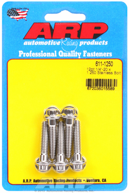 "ARP 611-1250 Stainless Steel Bolts - 12 Point Head - 1/4""-20 - 1.250"" UHL 5 Pack"