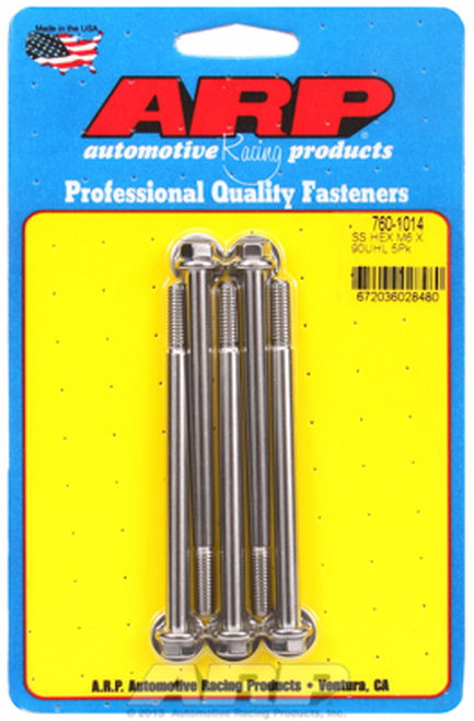 ARP 760-1014 Stainless Steel Bolts - Hex Head - M6 x 1.0 - 90mm UHL 5 Pack