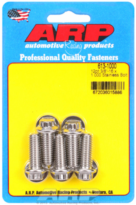 "ARP 613-1000 Stainless Steel Bolts - 12 Point Head - 3/8""-16 - 1.000"" UHL 5 Pack"