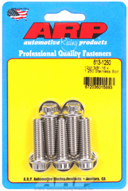 "ARP 613-1250 Stainless Steel Bolts - 12 Point Head - 3/8""-16 - 1.250"" UHL 5 Pack"