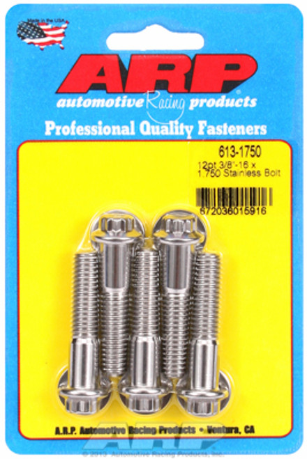 "ARP 613-1750 Stainless Steel Bolts - 12 Point Head - 3/8""-16 - 1.750"" UHL 5 Pack"